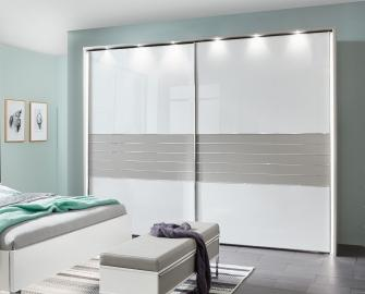 3 wiemann cadiz 2 door sliding wardrobe in white and pebble grey w 300cm - Banchete Cannes (Wiemann)
