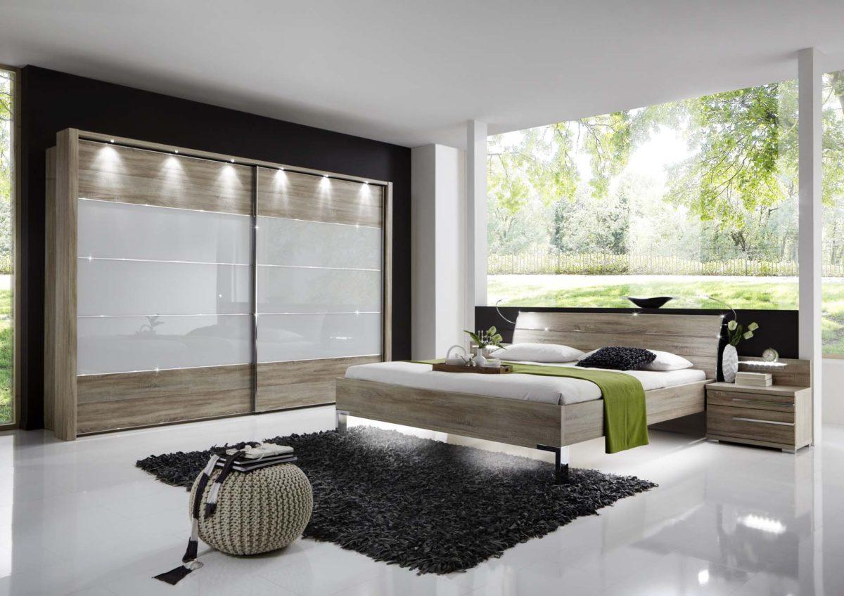 HOLLYWOOD4 22865 12 SZ m.SWTR234 Glas weiss Eiche saegerauNB 1200x848 - Dormitor Hollywood4 (Wiemann)