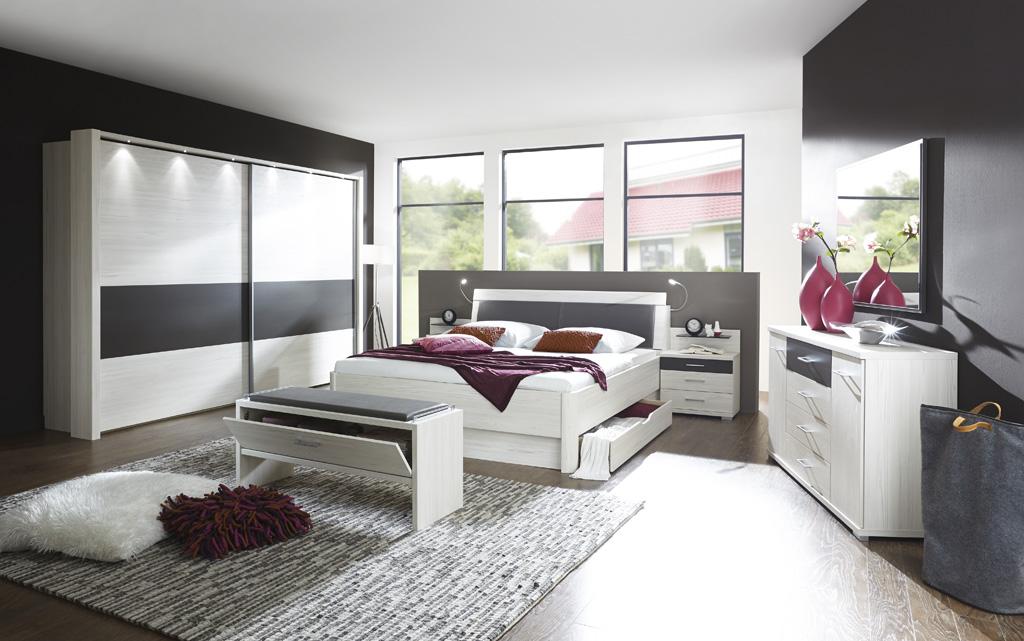 LISSABON 23730 13 Polar LaercheNBAbs.Havanna D. mSWT300cm Bett mBettkasten Beimoebel - Dormitor Lissabon (Wiemann)
