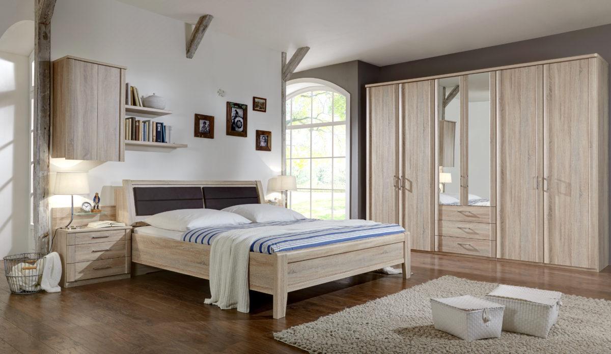 LUXOR4 bearMW 7923 14 Eiche saegerauNB mFuDTS300cm2Spt. Bett KT Polster Kunstl.mocca  1200x696 - Dormitor Luxor3&4 (Wiemann)