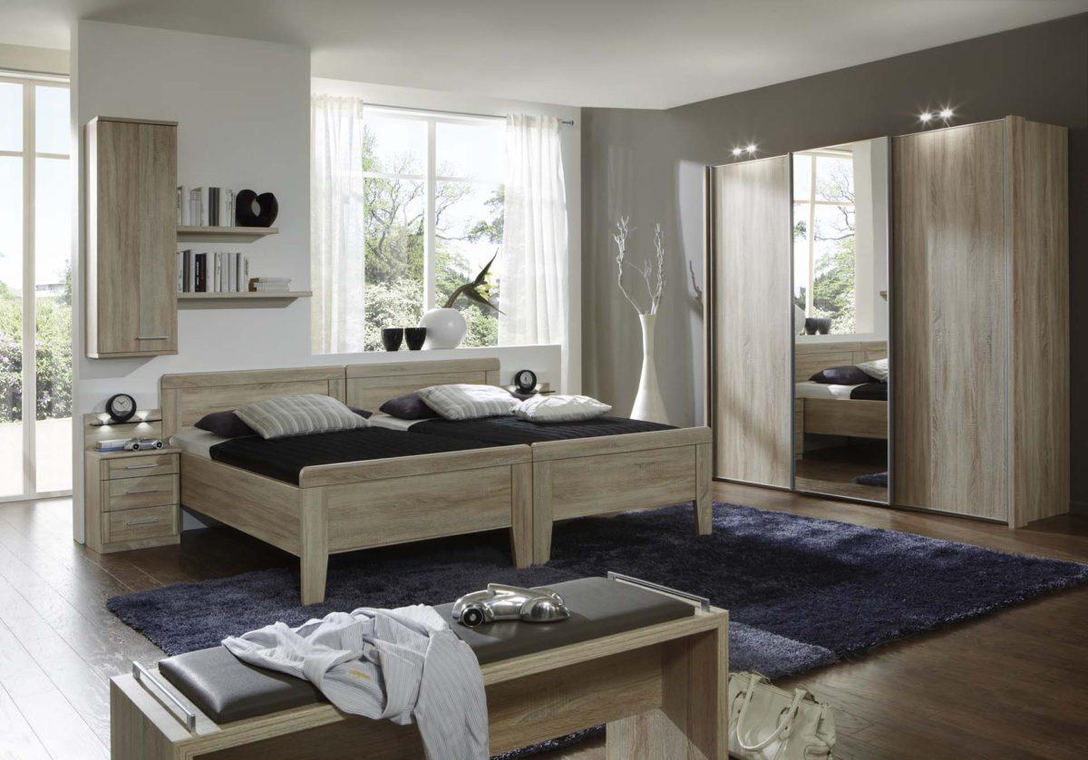 MERAN 20700 12 Eiche saegerauNB Komf.Doppelbett SWT225cm1Spt.mittig 1200x838 - Dormitor Meran (Wiemann)