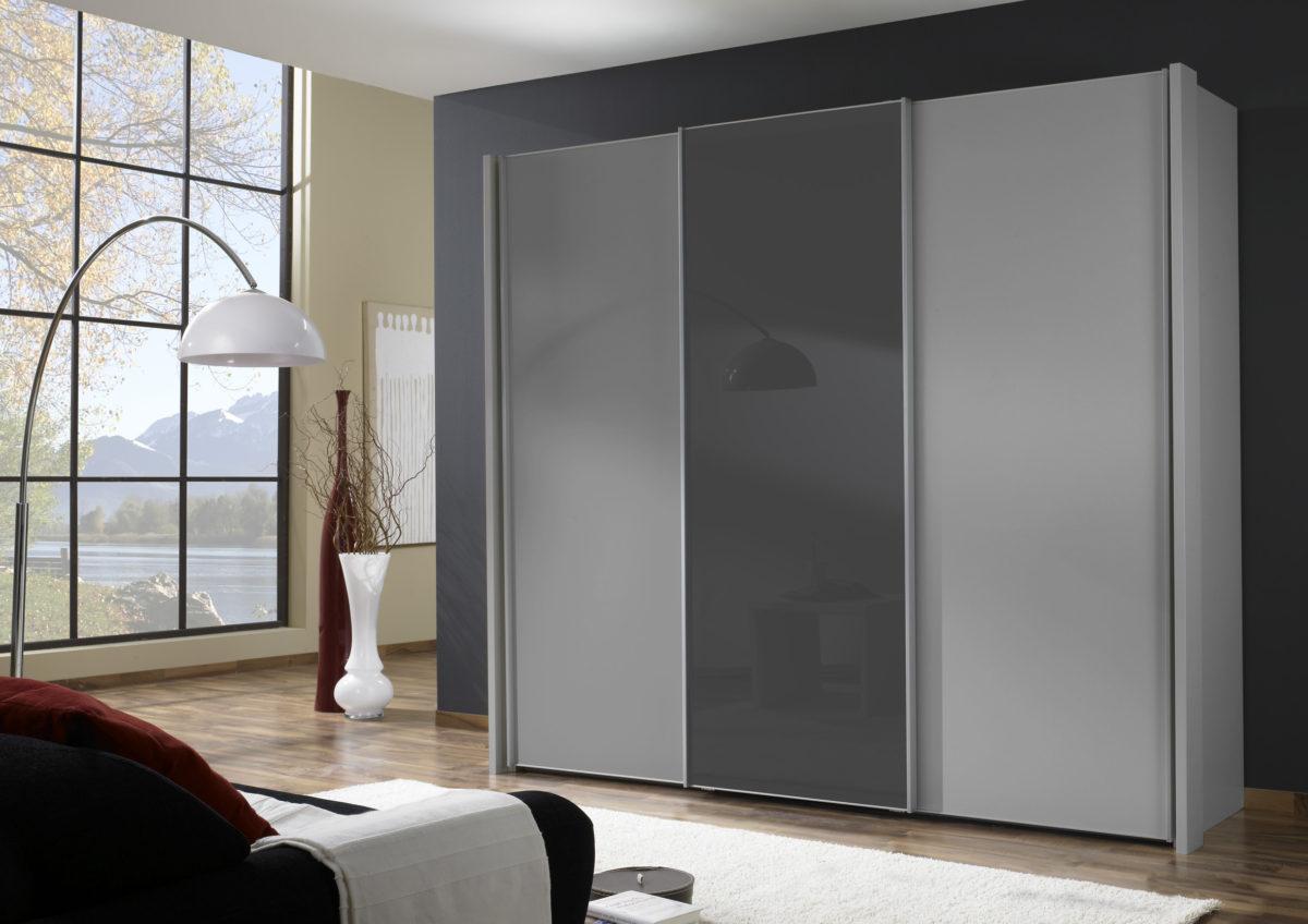MIAMI bear1730 08 silber 1 Tuer mittig Glas graphit Seitenstollen 1200x848 - Dulap Miami  (Wiemann)