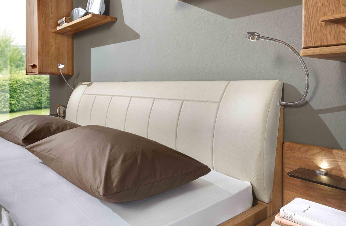 TOLEDO 5991 14 Eiche tmAbs.Kunstleder magnolie Polster Kopfteil 1200x785 - Dormitor Toledo (Wiemann)