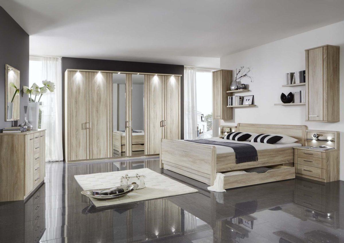 VALENCIA 20219 12 Eiche saegerauNB Bett mSK DTS300cm2Spt Beimoebel 1200x848 - Dormitor Valencia (Wiemann)