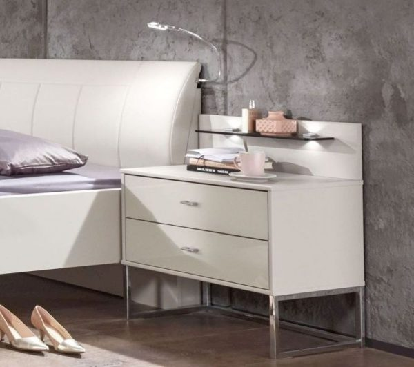 Wiemann Kansas 3 Drawer Narrow Bedside Cabinet in Champagne Glass H 48cm 600x532 - Comodă Kansas (Wiemann)