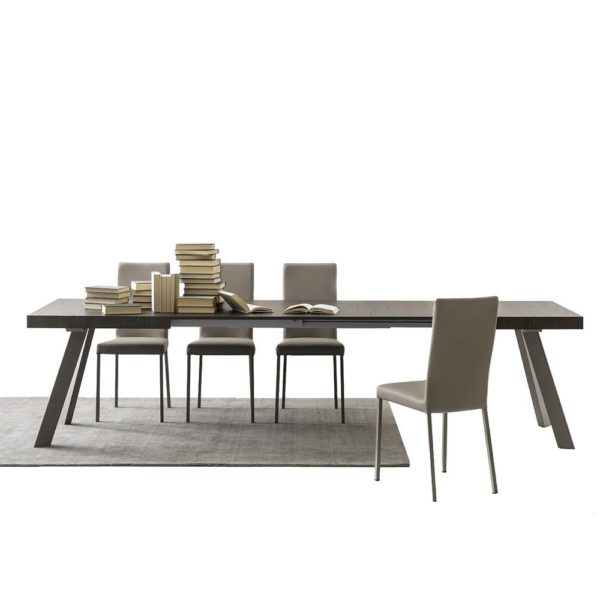 cb4795 xr bold extendible table in dove grey varnished metal with melamine top thermal treated finish 600x600 - Masa Bold (Connubia)