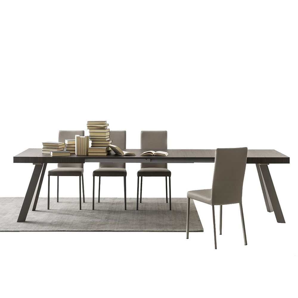 cb4795 xr bold extendible table in dove grey varnished metal with melamine top thermal treated finish - Masa Bold (Connubia)