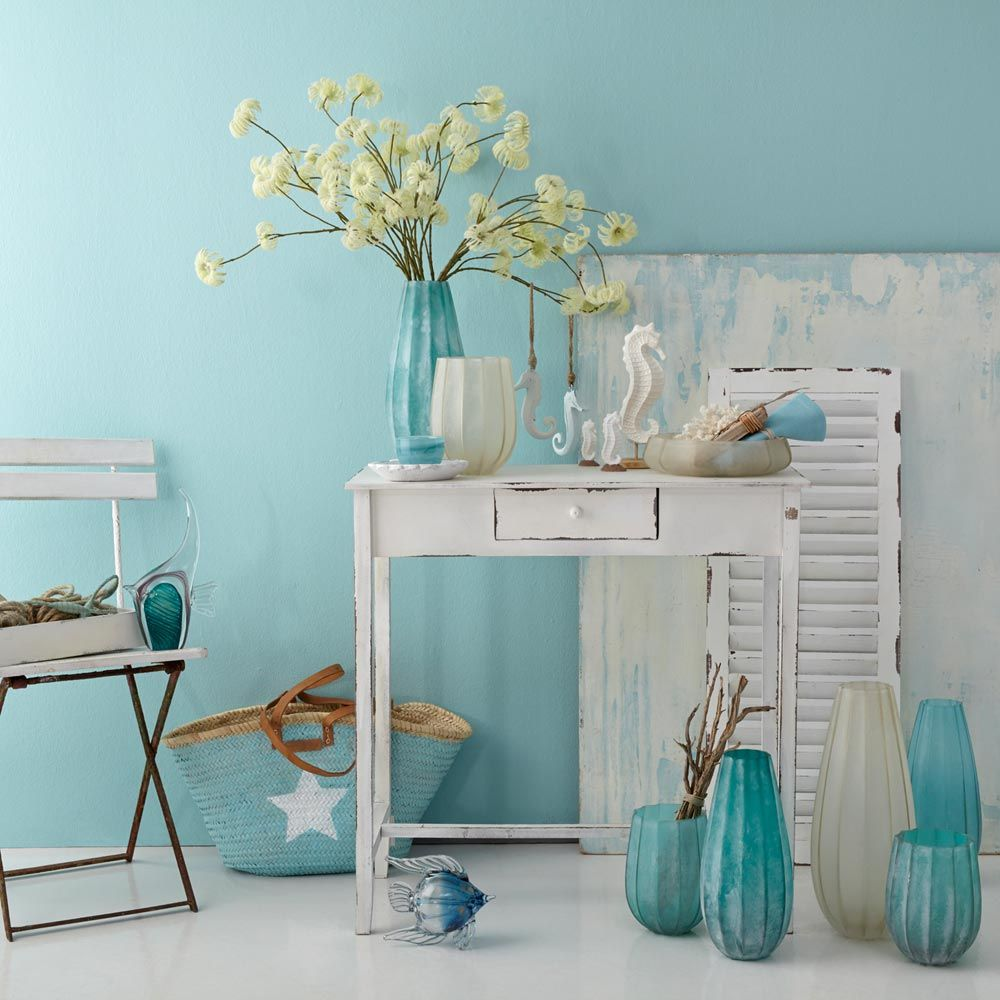 024434 1 k 1 - Vaza decorativă Ferrara turquoise 35 cm (L024434)