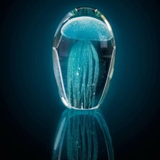026023 Leonardo Oceano szobor meduzaval 11cm turkiz 3 - Statuetă decorativă Jellyfish Oceano turquoise (L026023)