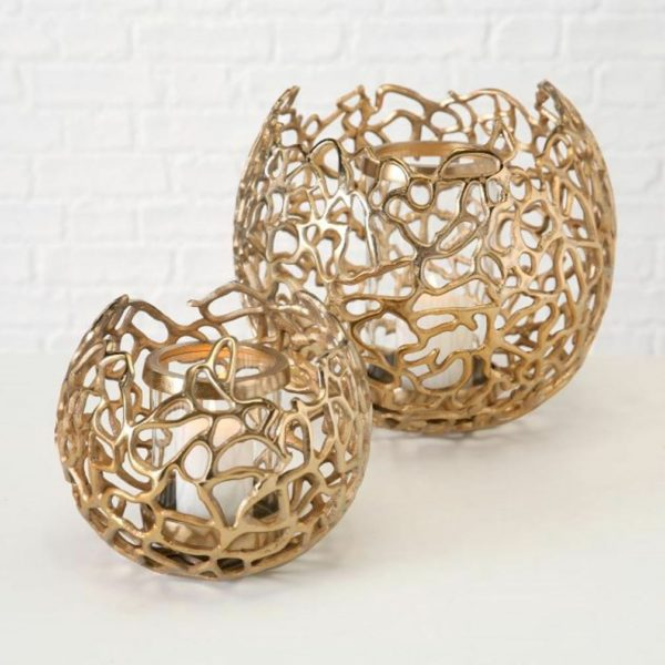 2er Set Aluminium Windlicht Fidan gold Kerzenhalter 19 und 600x600 - Suport pentru lumânări Fidan (1011628)
