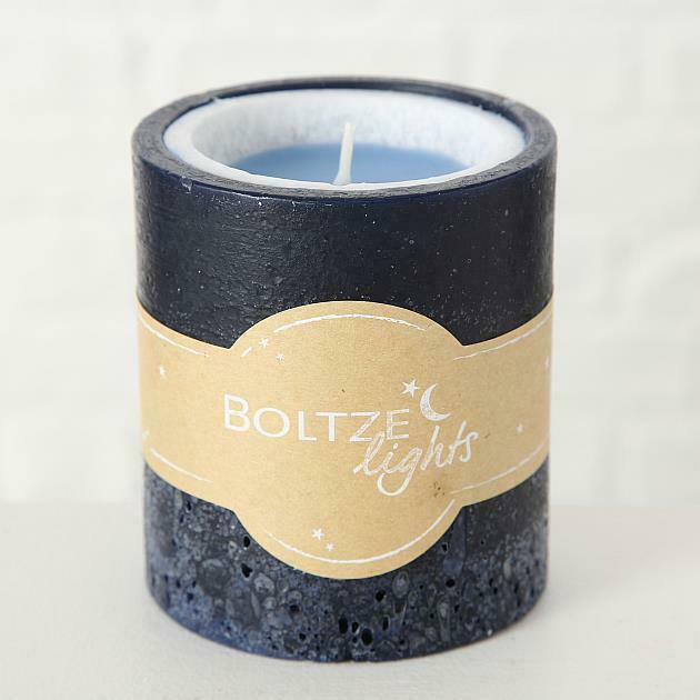 BOLTZE Kerze Faruk H10 D9cm 463g blau Wachs 1 1 - Lumânare Boltze Faruk blue 10 cm (1018178)