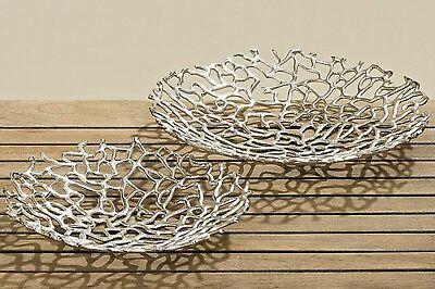 Deko Schale Fidan Set Ø32 40cm Aluminium Silber - Set de farfurii decorative FIDAN rotunde (3656600)