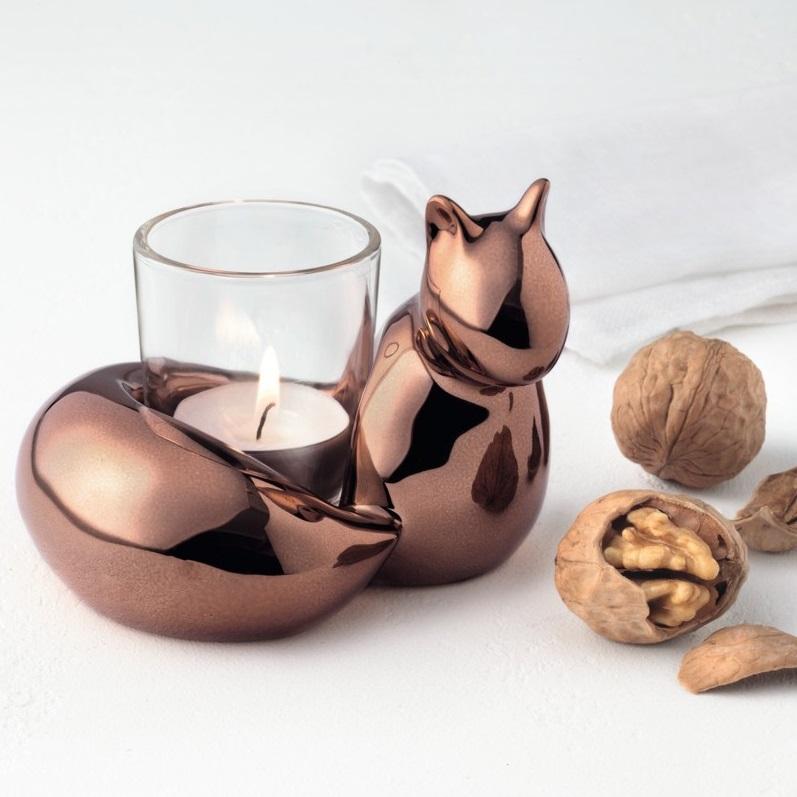 Leonardo 014965 16cm Eichh rnchen Edy mit Tischlicht Glas Herbstdeko Herbst - Suport pentru lumânare veverița (L014965)
