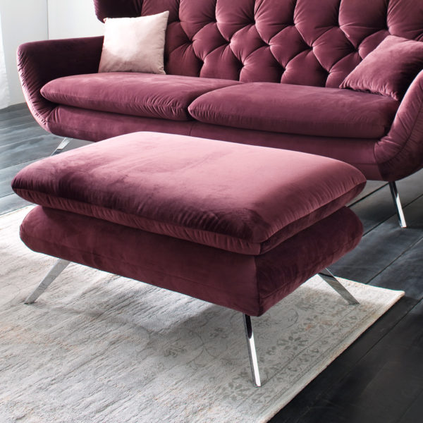 Sixty Hocker Velvet purple 600x600 - Canapea Sixty 3C Candy Polstermoebel