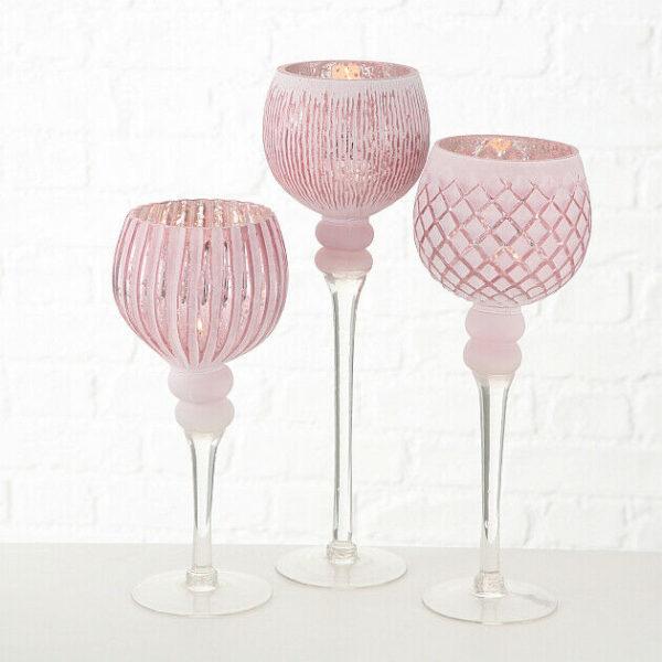 WINDLICHT Manou 3er Set Glas rosa lackiert KERZENHALTER 600x600 - Suport pentru lumânări MANOU pink (1015748)