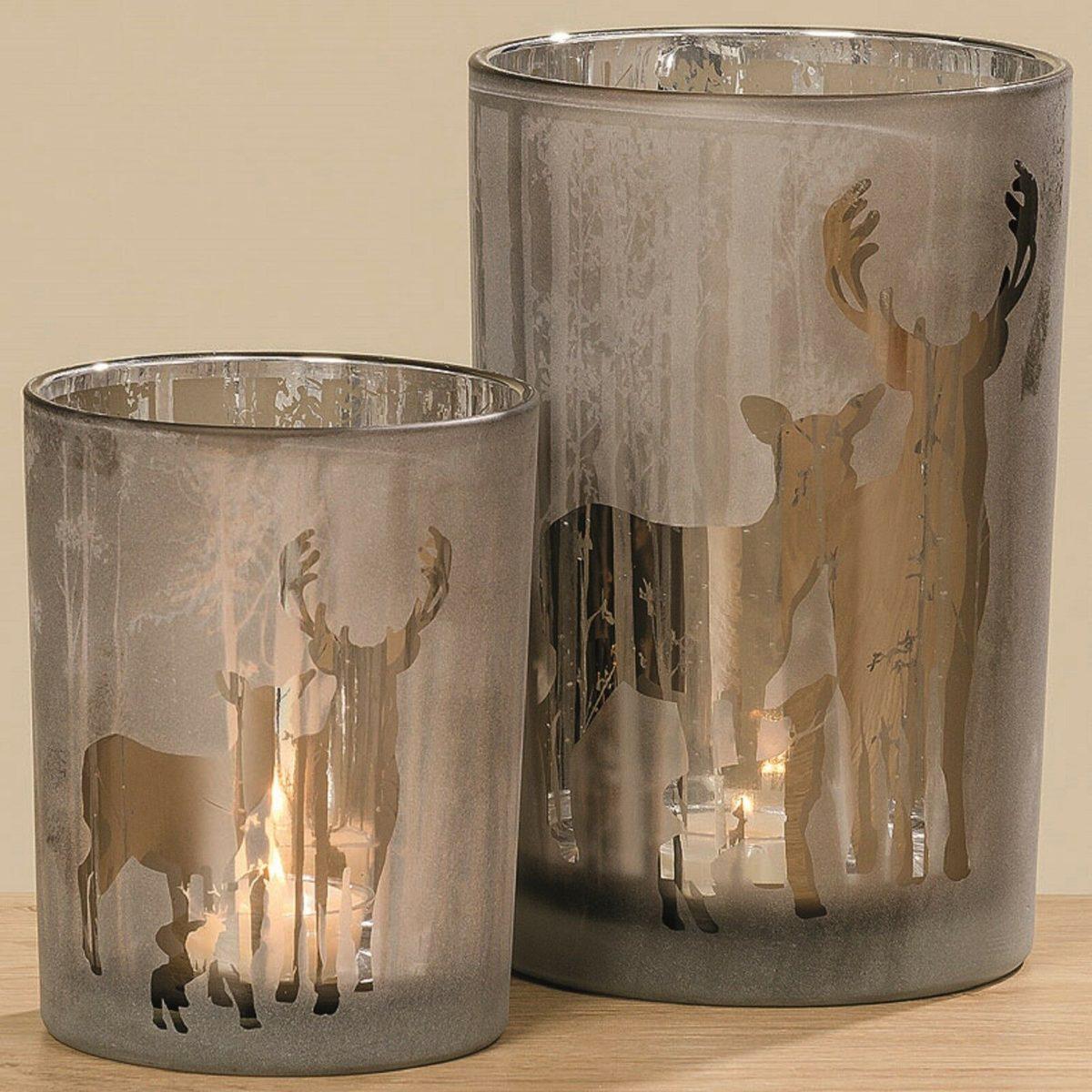 Windlicht Glas lackiert Motiv Hirsch Reh H 12 1200x1200 - Suport pentru lumânări SULANO mic (1010063)