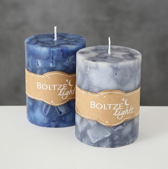 bloklys bla h9cm - Lumânare Boltze Marbel blue 9 cm (1015717)