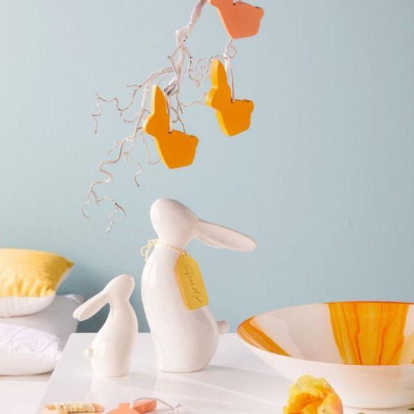 31637 1 600x600 - Statueta Bunny Stretch white 14 cm (L031637)