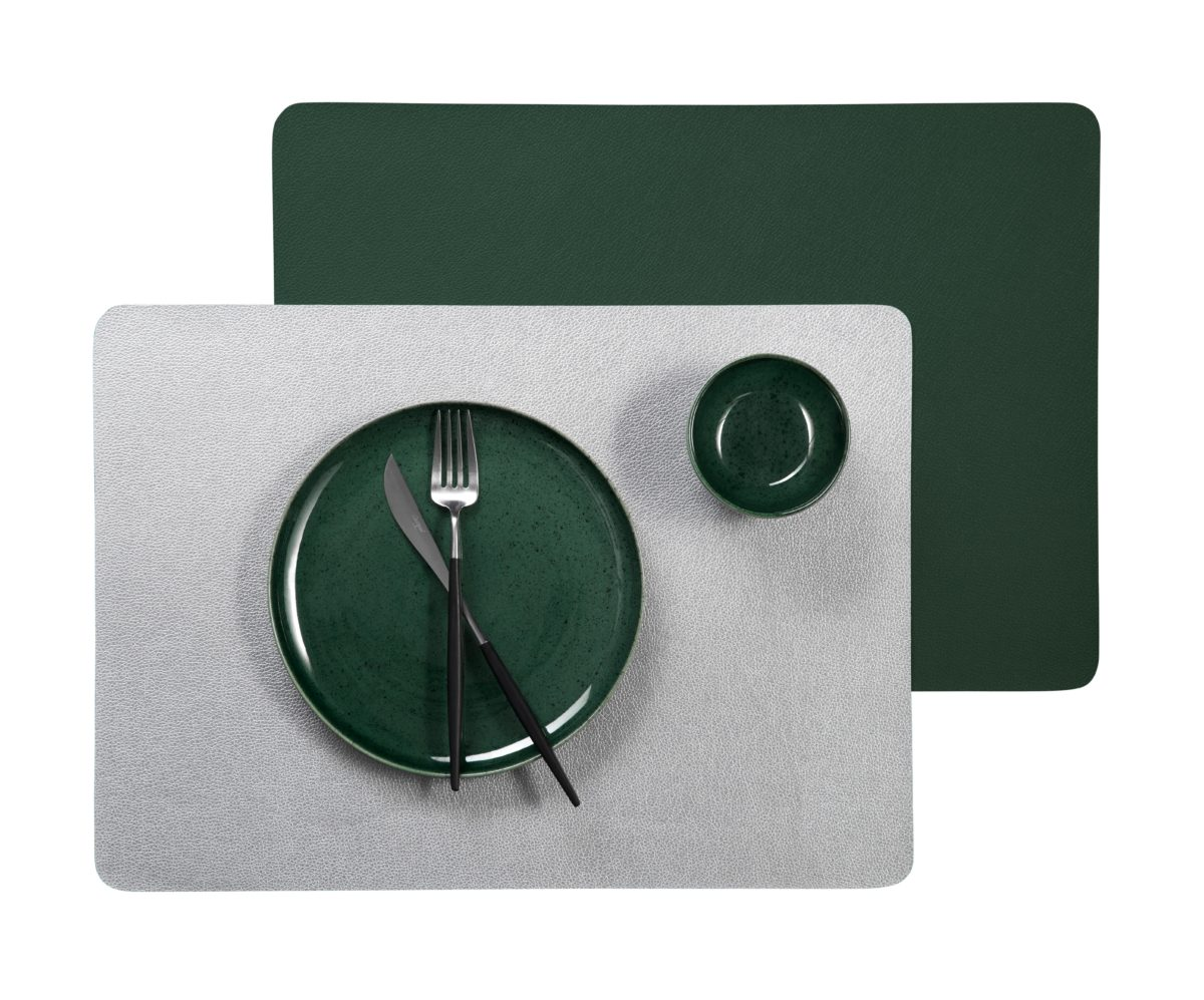 Ledertischsets Kale silberDsAnOujSePzW0 1200x997 - Placemat Leather optic metallic kale 46*33 cm (7810420)