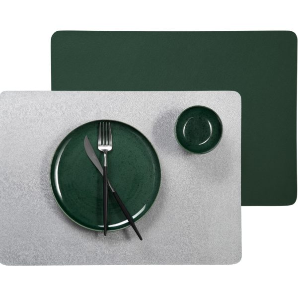 Ledertischsets Kale silberDsAnOujSePzW0 600x600 - Placemat Leather optic metallic kale 46*33 cm (7810420)