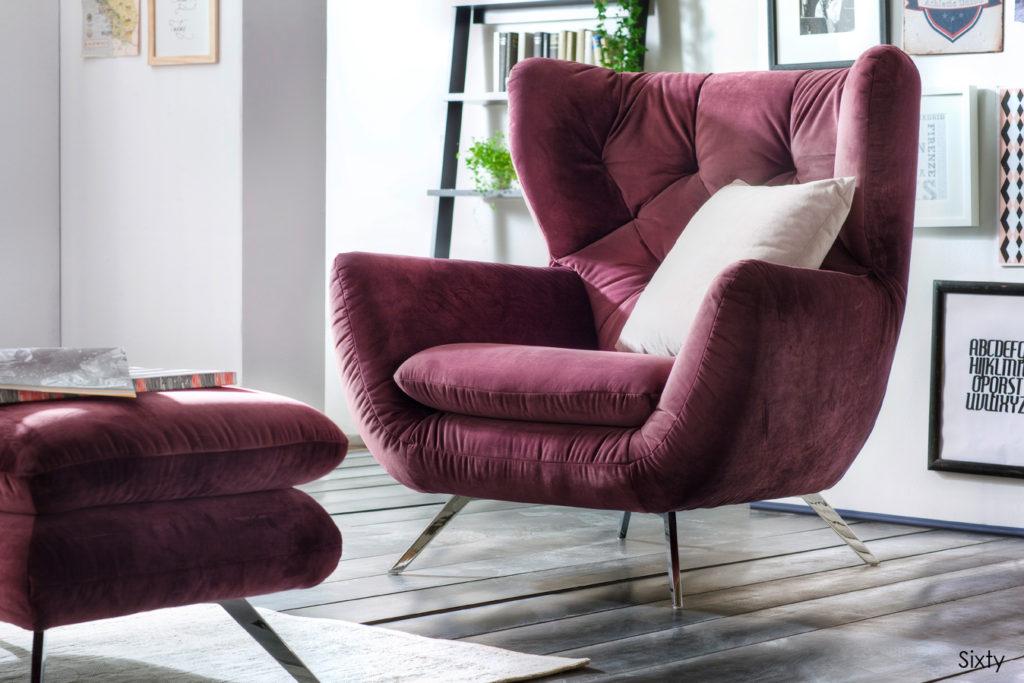 Sixty Sessel Velvet purple 1024x683 - Велюровые диваны и спальни, их плюсы и минусы.