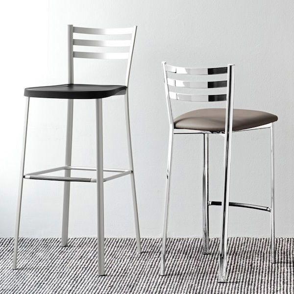 cb1329 ace tabouret en metal chrome assise en simili cuir gris tourterelle avec tabouret haut cb1433 ace 600x600 - Scaun pentru bar Ace CONNUBIA (CB/1329)