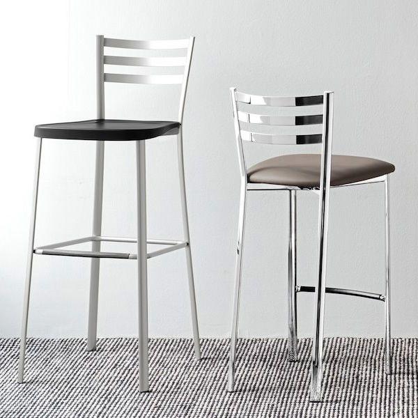 cb1329 ace tabouret en metal chrome assise en simili cuir gris tourterelle avec tabouret haut cb1433 ace - Scaun pentru bar Ace CONNUBIA (CB/1329)