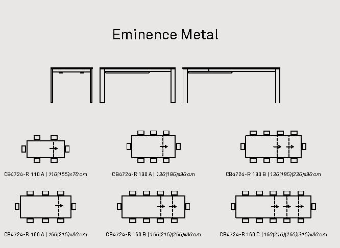 eminence metal - Masă Eminence (Connubia)