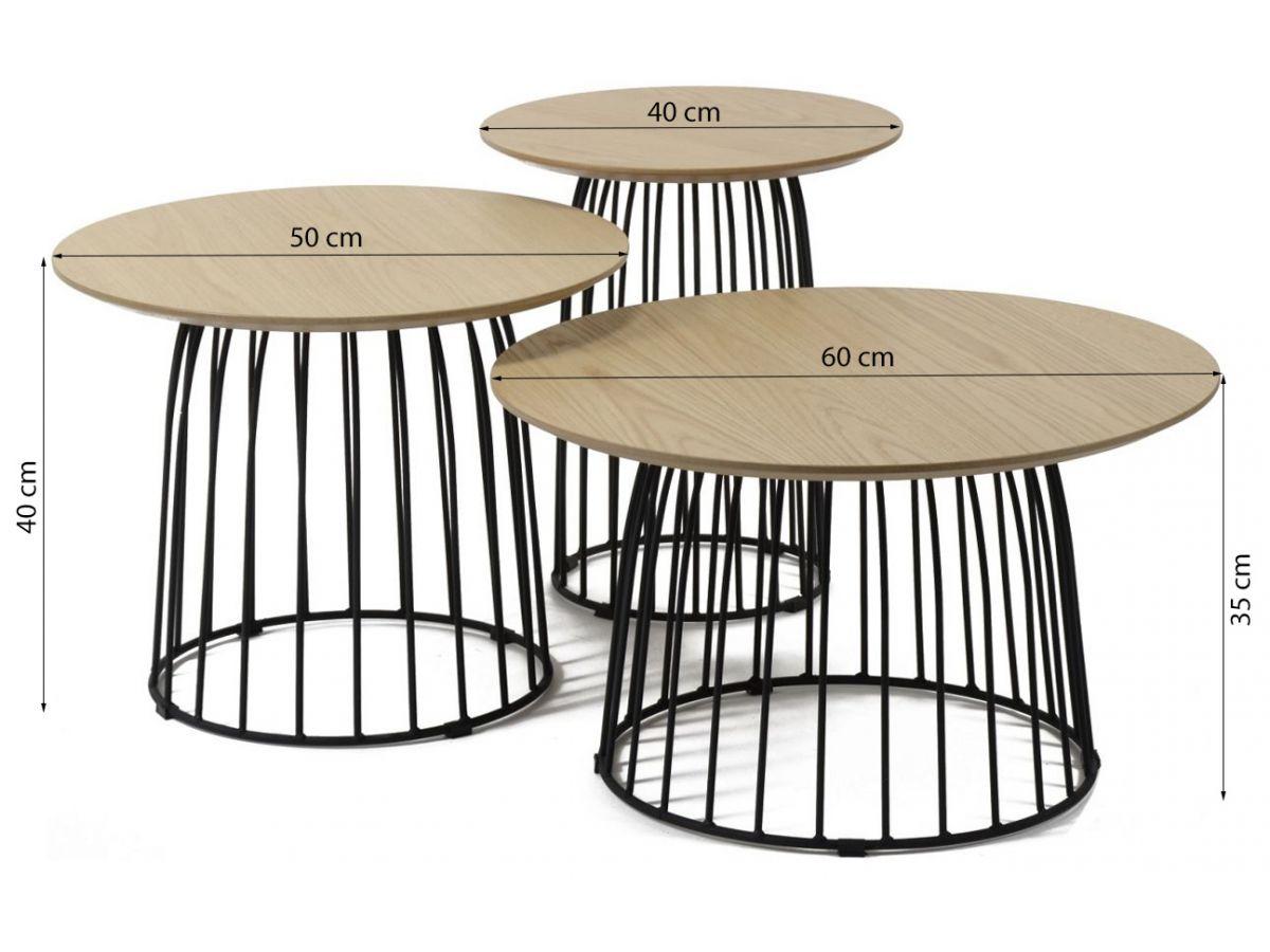 stoliki kawowe eiken 60cm drewnianoczarne 3set - Masă de cafea set 3 buc. ZIJLSTRA (3455/14)