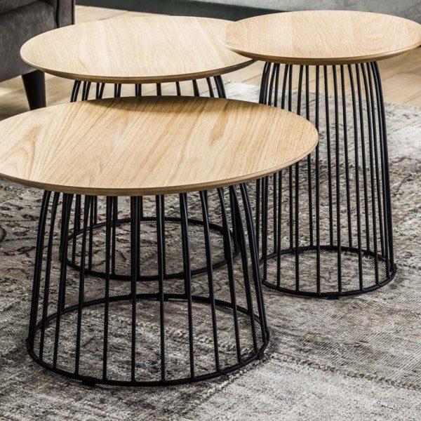 stoliki kawowe eiken 60cm drewnianoczarne 3set 3 600x600 - Masă de cafea ZIJLSTRA (3452/14)