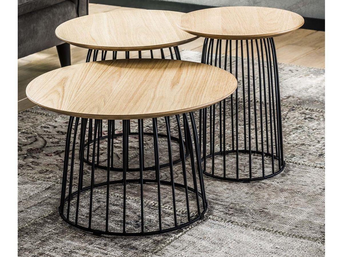stoliki kawowe eiken 60cm drewnianoczarne 3set 3 - Masă de cafea set 3 buc. ZIJLSTRA (3455/14)