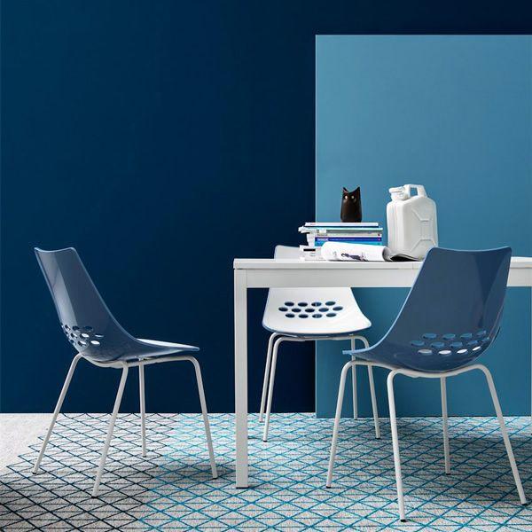 cb1059 jam optic white metal chairs with two coloured polycarbonate seat white sku blue version - Scaun Jam CONNUBIA