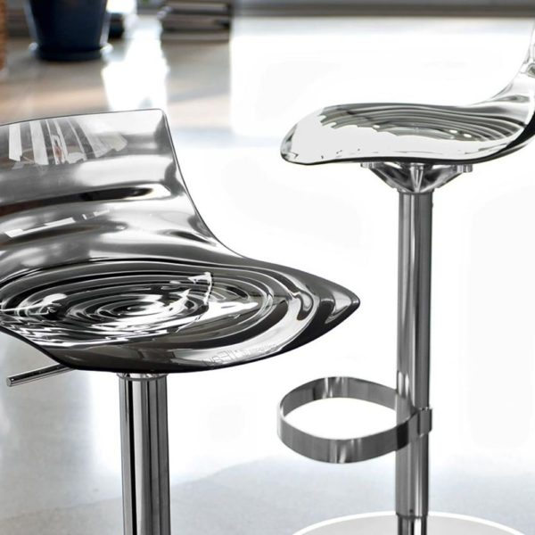 cb1288 l eau swivel and adjustable stools made of metal and san transparent smoke grey colour 600x600 - Scaun pentru bar L'eau  CONNUBIA