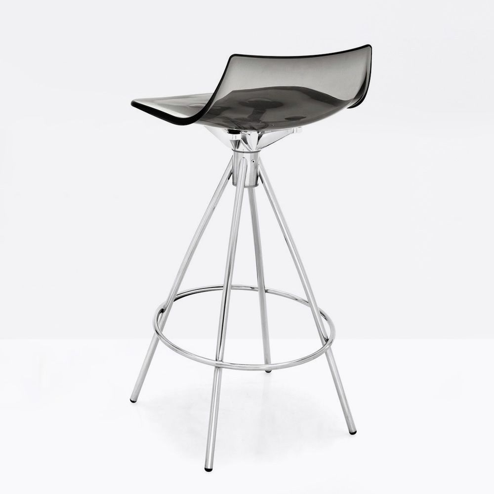 cb1427 led chromed steel stool smoked grey transparent monocoque - Scaun pentru bar Led CONNUBIA