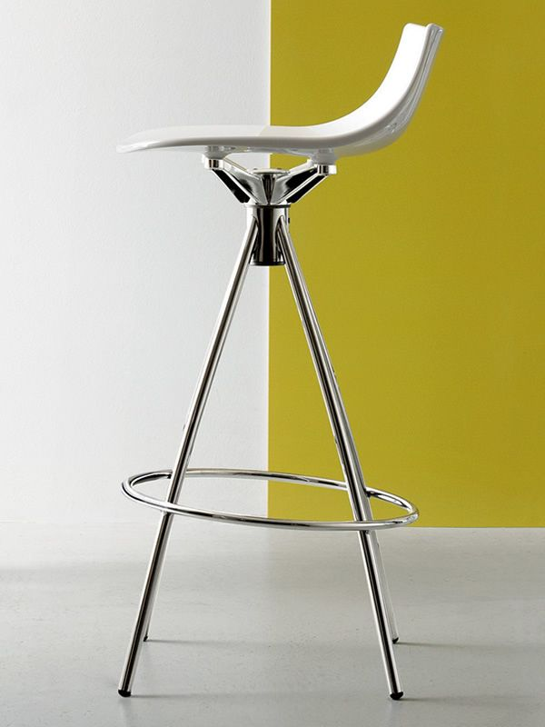cb1427 led fixed stool made of chromed metal with glossy optic white san seat - Scaun pentru bar Led CONNUBIA