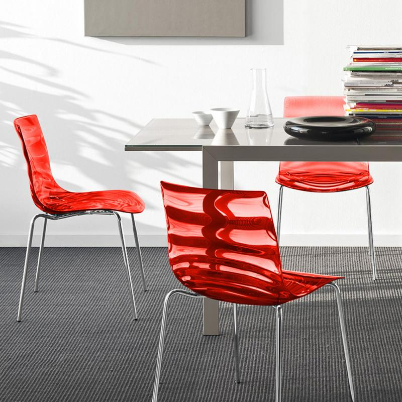 connubia leau chair w 550 h 770 d 550 mm transparent red conn cs 1273 p77 p852 0a - Scaun L'eau CONNUBIA (CB/1273)