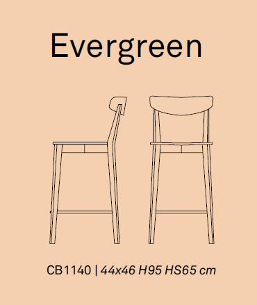 evergreen 1 - Scaun pentru bar Evergreen CONNUBIA (CB/1140)