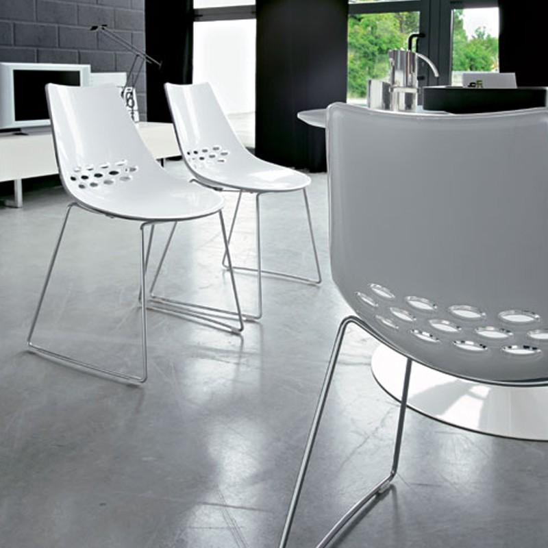 pack 4 стулья варенье коннубия белый непрозрачный блестящий базовый металл хром покрытием - Scaun Jam CONNUBIA