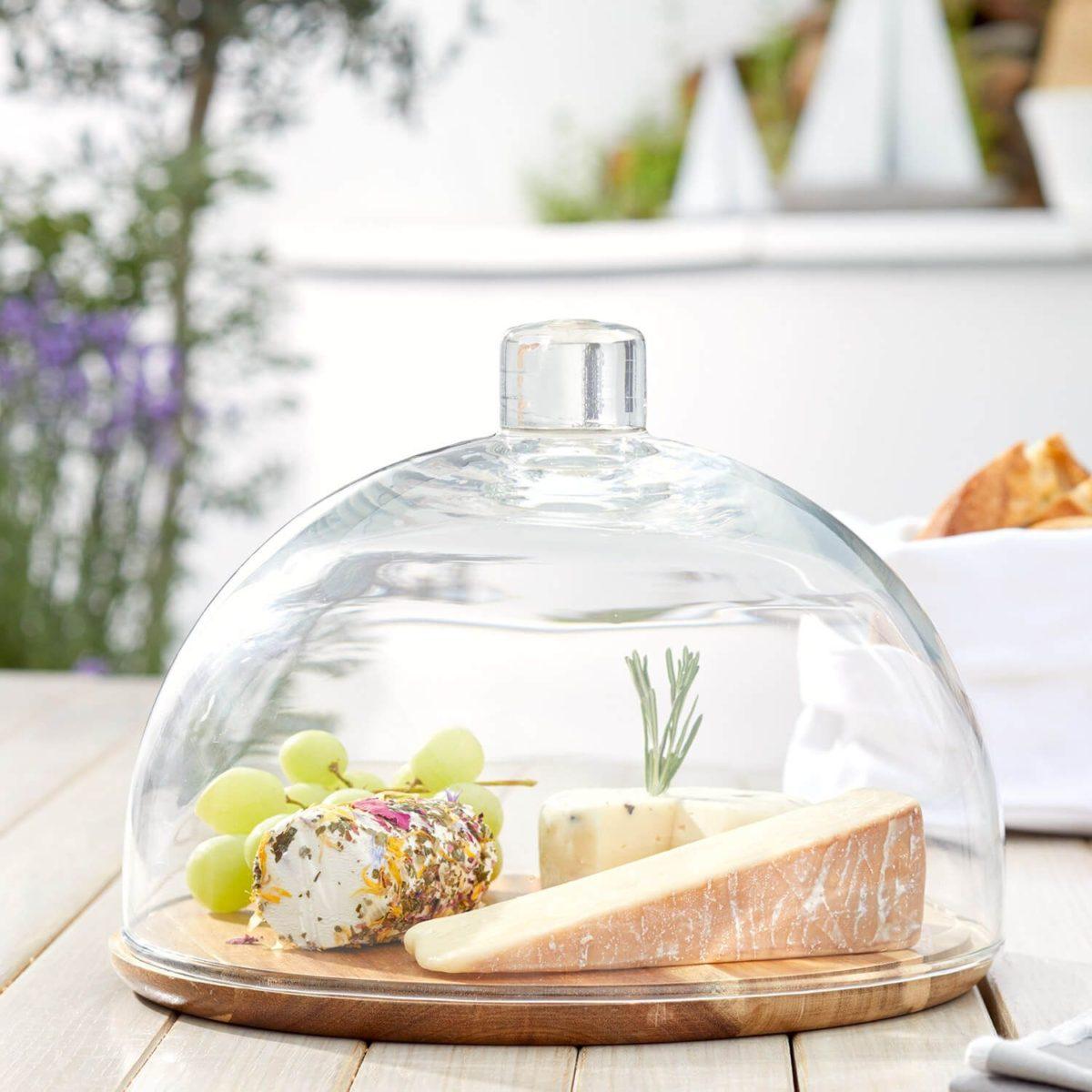 018519 1 k 1200x1200 - Platou pentru brânză din lemn / clopot de sticlă CUCINA (L018519)