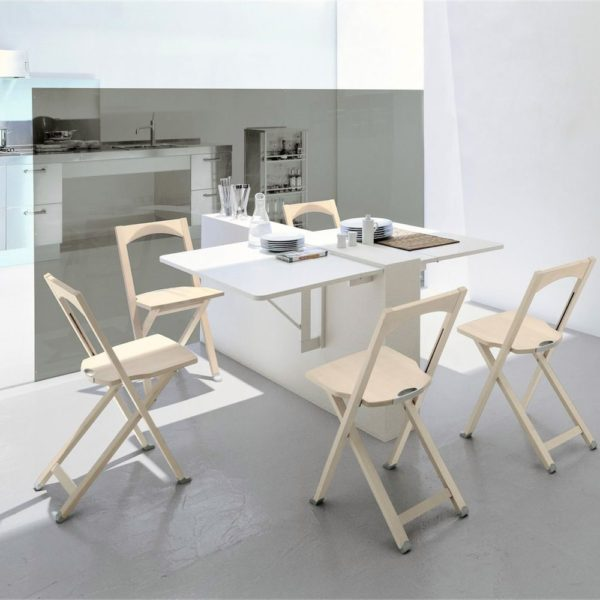 cb08 quadro folding table made of white melamine 600x600 - Masa pliabila Quadro CONNUBIA (CB/08)