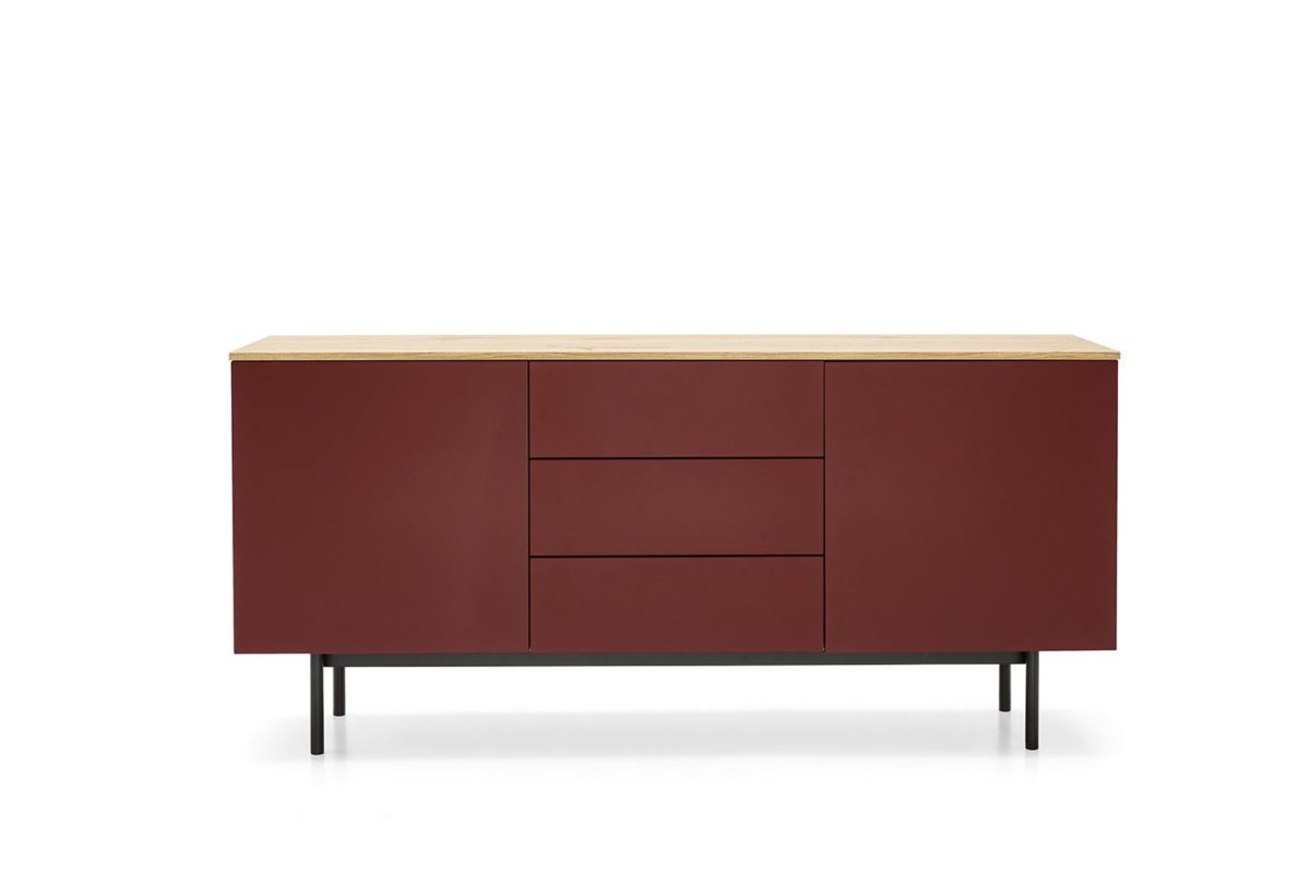 cb6101 3 made wooden sidebord by connubia with 2 doors and 3 drawers in natural oak and bordeaux colours 1200x800 - Comod Made CONNUBIA (CB/6101)