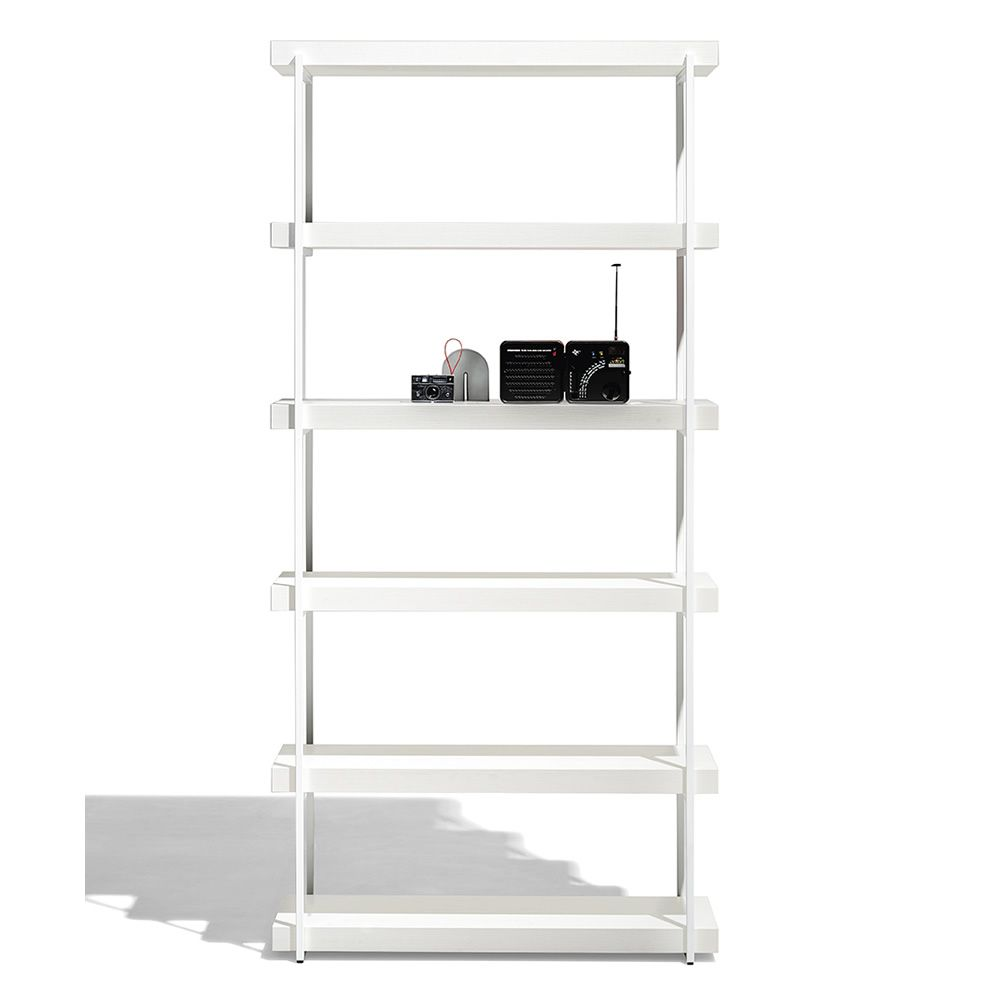 cb6102 libra bookshelf with metal structure and wooden shelves in polished white colour size m - Raft Libra CONNUBIA (CB/6102)