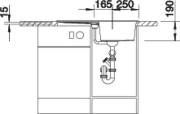 38284 - Chiuveta BLANCO, Metra 45 S (Compact)