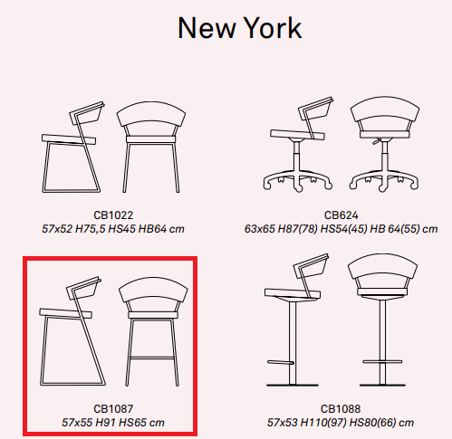 3 - Scaun pentru bar New York CONNUBIA ( CB/1087 )