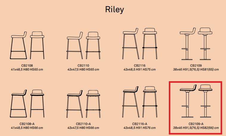 4 - Scaun pentru bar Riley Soft CONNUBIA (CB/2109-A)
