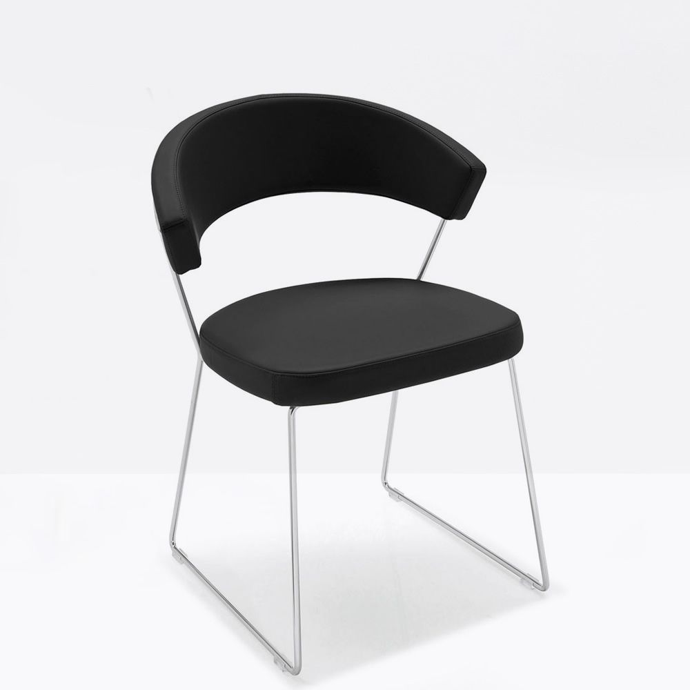 cb1022 new york sp chromed metal chair with imitation leather covering black colour - Scaun New York CONNUBIA (CB/1022)