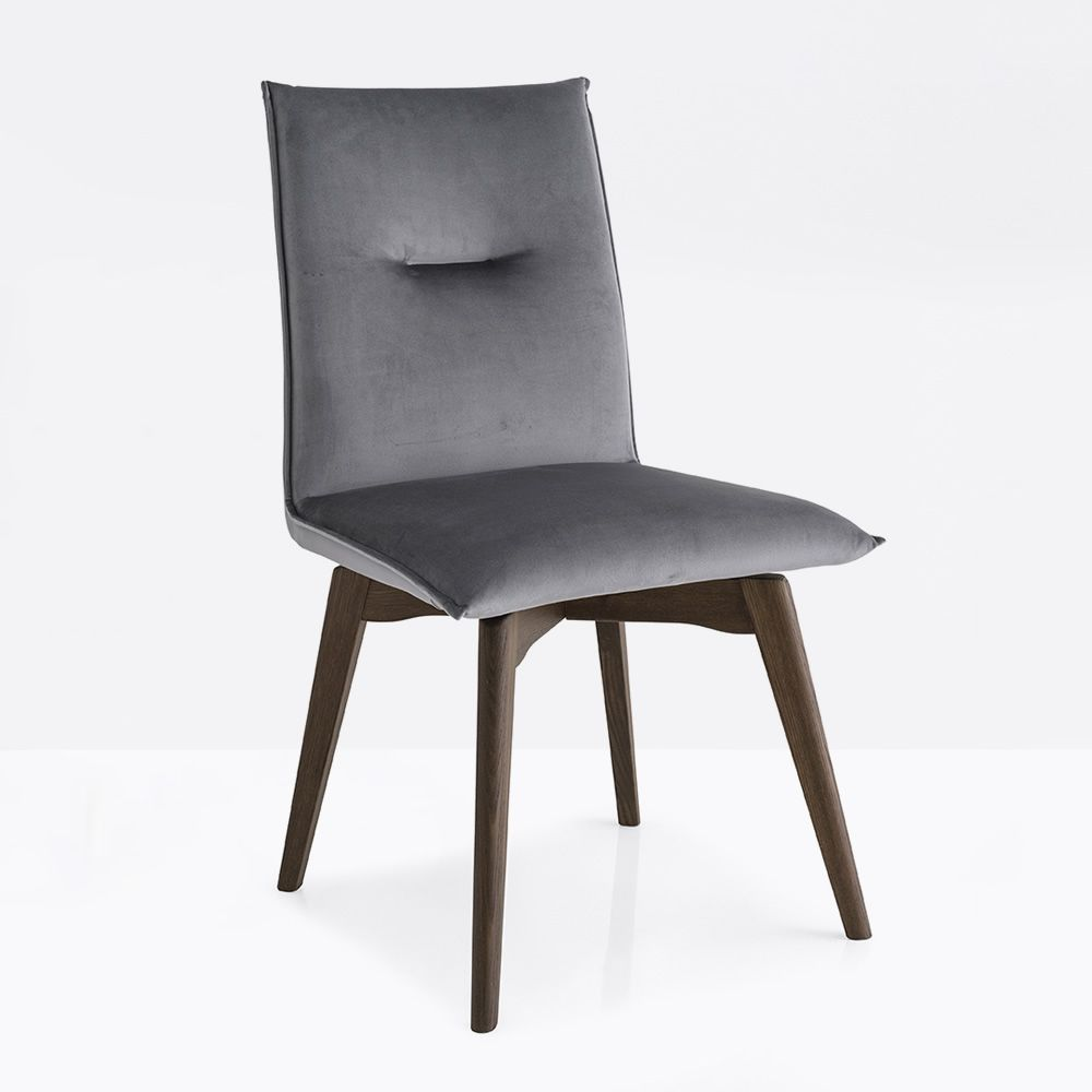 cb1926 maya chair in smoke stained wood seat covered with venice fabric in cinder grey colour - Scaun Maya CONNUBIA (CB/1926)